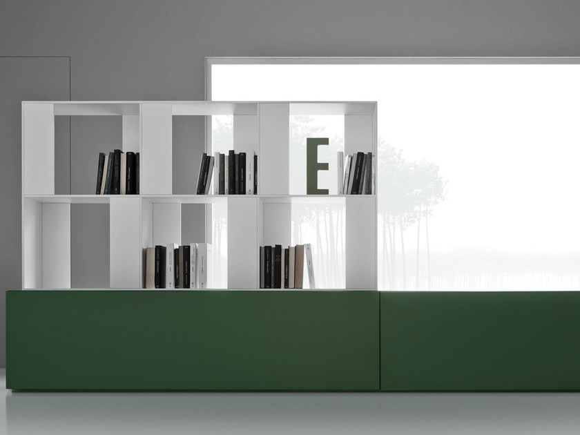 Freestanding divider bookcase with drawers LINE K | Bookcase with drawers - Zampieri Cucine