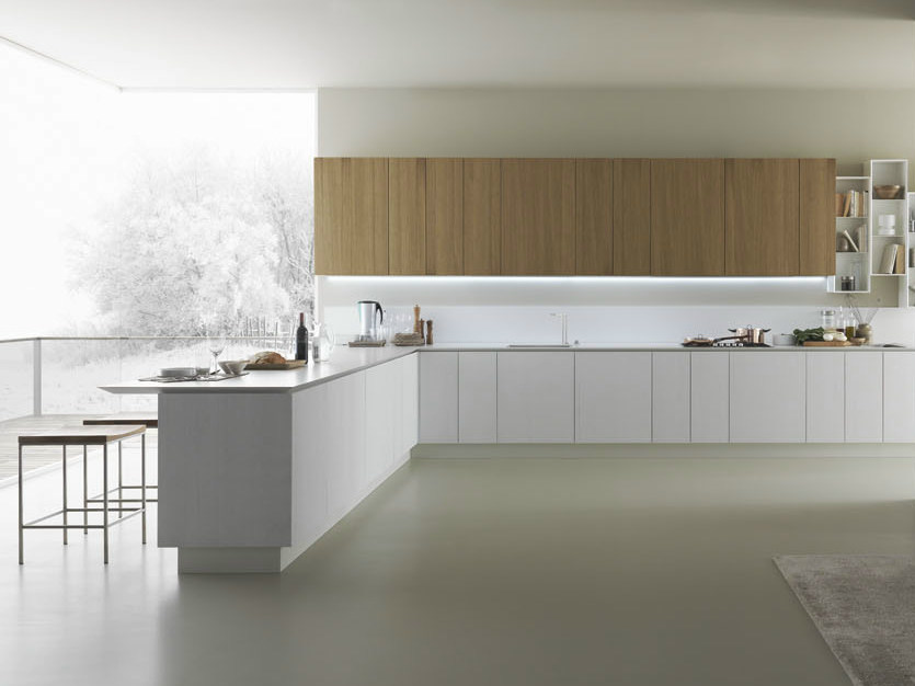 Oak kitchen with peninsula Y | Composition 05 - Zampieri Cucine
