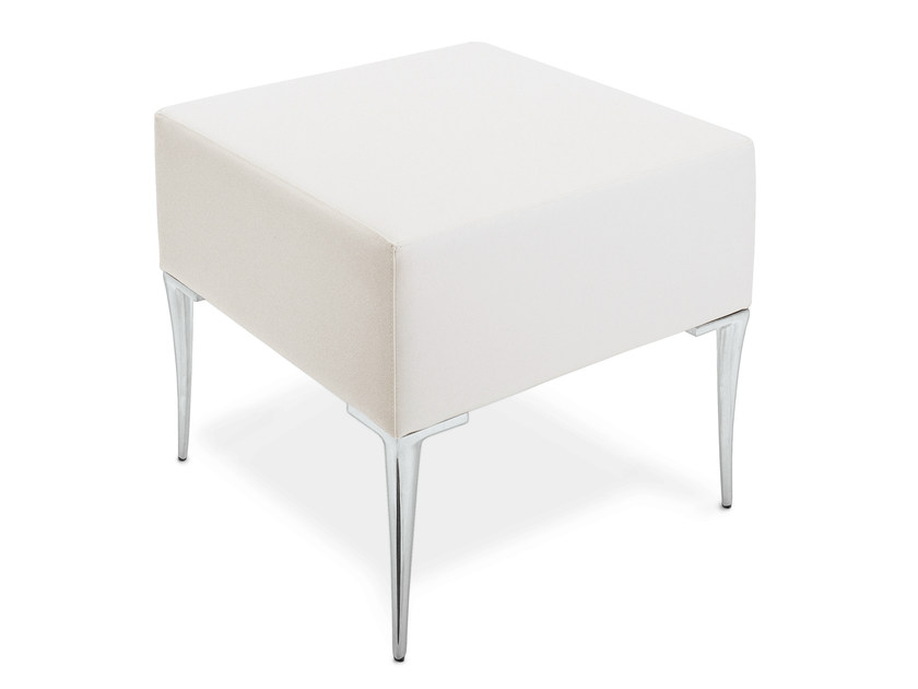 Upholstered imitation leather pouf TECLA | Pouf by OUTSIDER