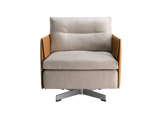 Swivel armchair GRANTORINO | Armchair by Poltrona Frau