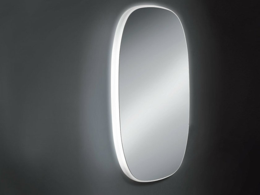 Oval wall-mounted mirror with integrated lighting URBAN - OUTSIDER