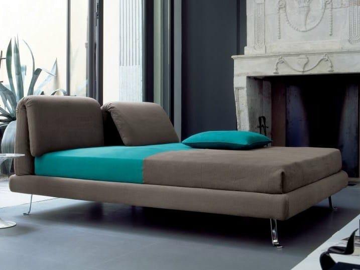 Fabric double bed with adjustable headrest CHORUS - Twils