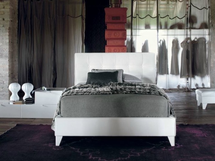 Fabric storage bed with tufted headboard MAX CAPITONNÈ | Fabric bed by Twils