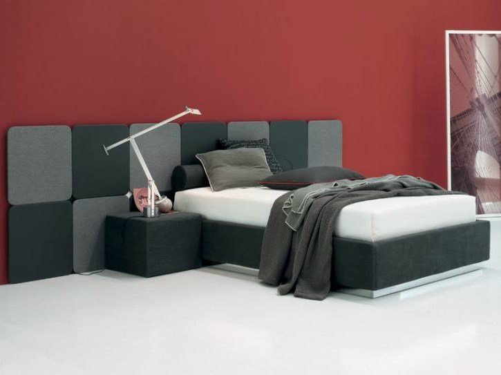 Fabric storage bed VISION BOISERIE & MAX SOMMIER - Twils