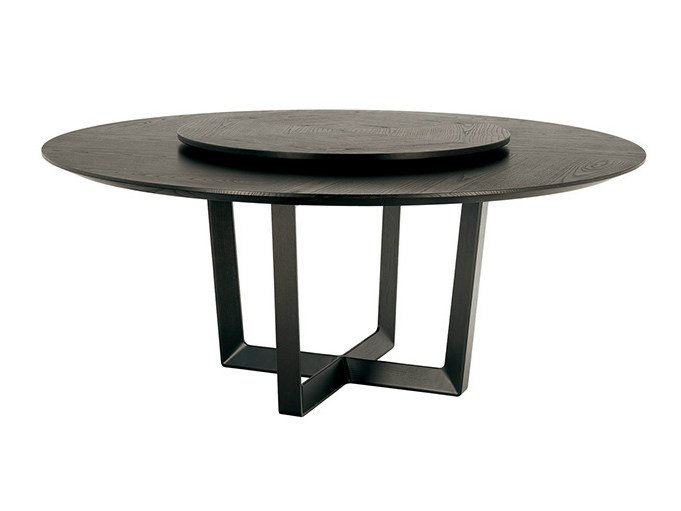 Round table with Lazy Susan BOLERO | Table with Lazy Susan by Poltrona Frau