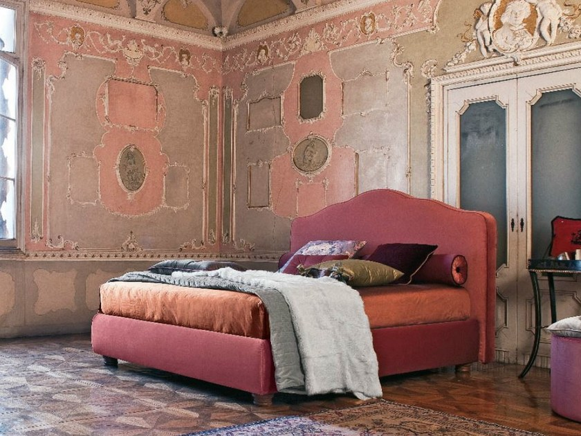 Fabric double bed with removable cover ANASTASIA - Twils
