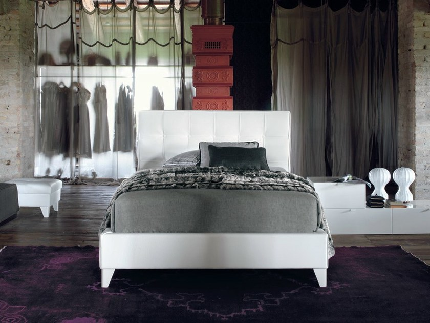 Leather storage bed with tufted headboard MAX CAPITONNÈ CLASSIC | Single bed - Twils