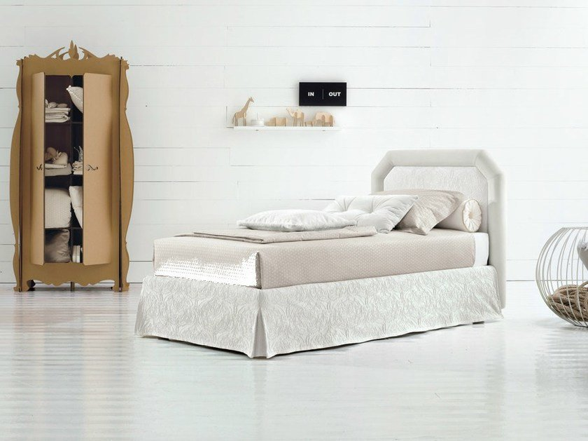 Single bed with removable cover with upholstered headboard CAMILLE - Twils