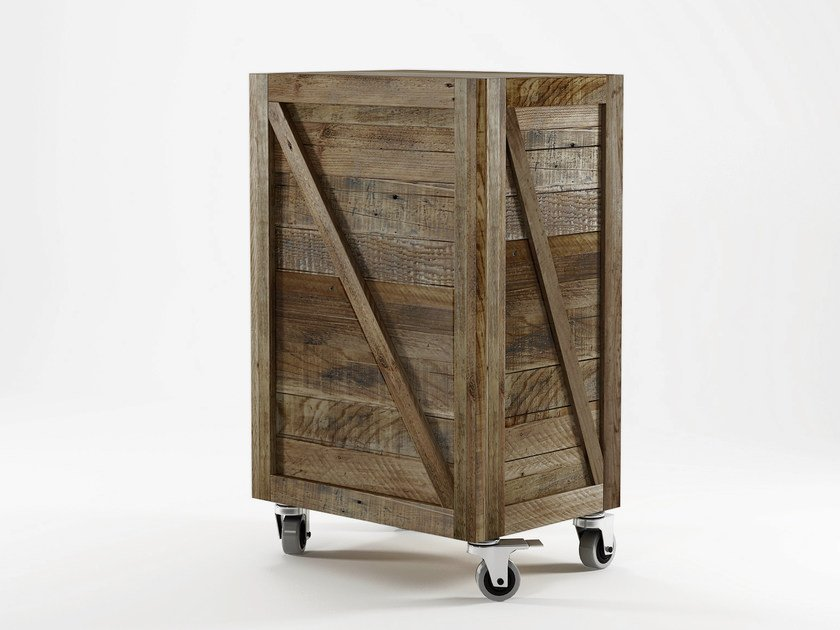 Reclaimed wood storage unit with casters KRATE | Storage unit - KARPENTER