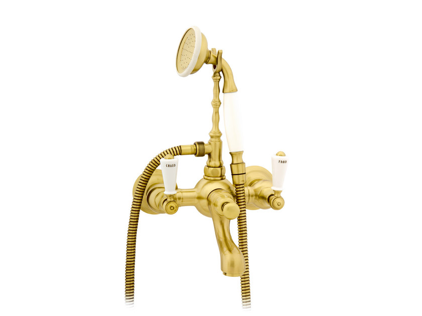 Wall-mounted gold colour bathtub tap with hand shower 035018.M00.30 | Bathtub tap - Bronces Mestre