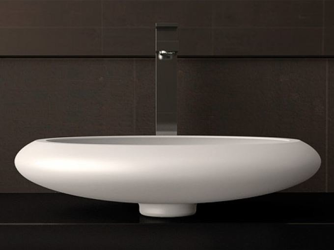 Countertop oval single washbasin STONE by Glass Design