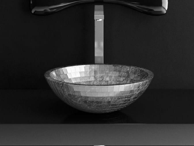 Countertop round Teknoform® washbasin MOSAIC by Glass Design