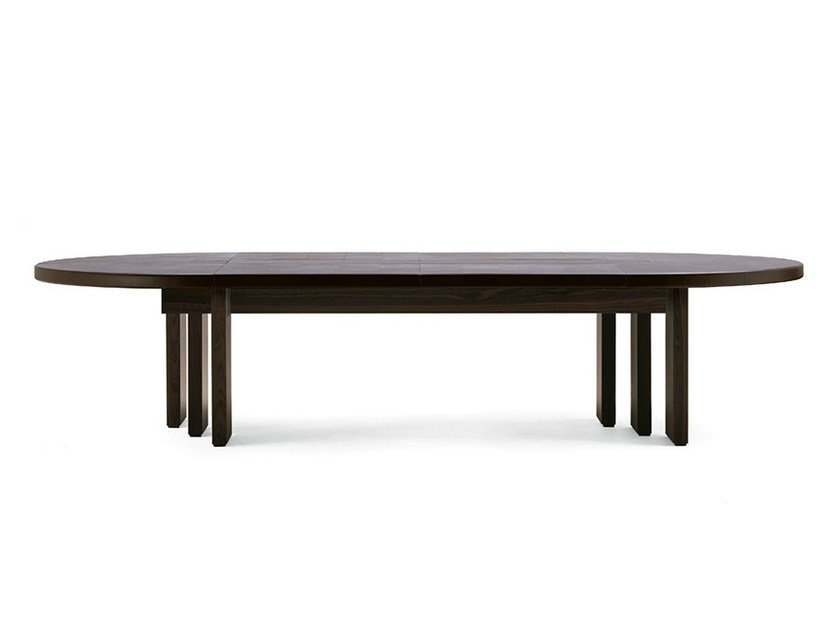 Oval tanned leather meeting table H_O MEETING | Oval meeting table - Poltrona Frau