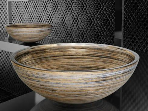 Countertop round glass washbasin GRAFFITI Ø 40 by Glass Design