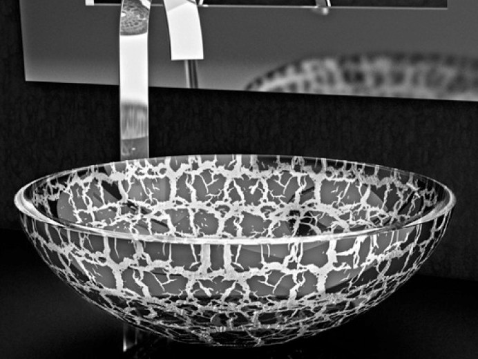 Countertop round glass washbasin KALAHARI Ø 40 - Glass Design