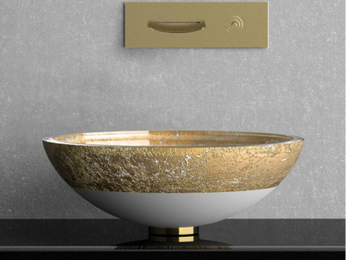 Countertop round glass washbasin FLARE TECH Ø 40 by Glass Design