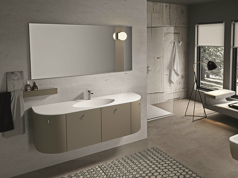 Lacquered wall-mounted vanity unit with drawers GIUNONE 355 - Edoné by Agorà Group