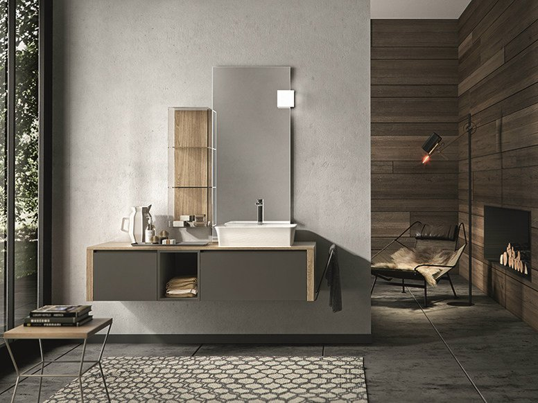 Lacquered wall-mounted vanity unit with drawers GIUNONE 356 - Edoné by Agorà Group