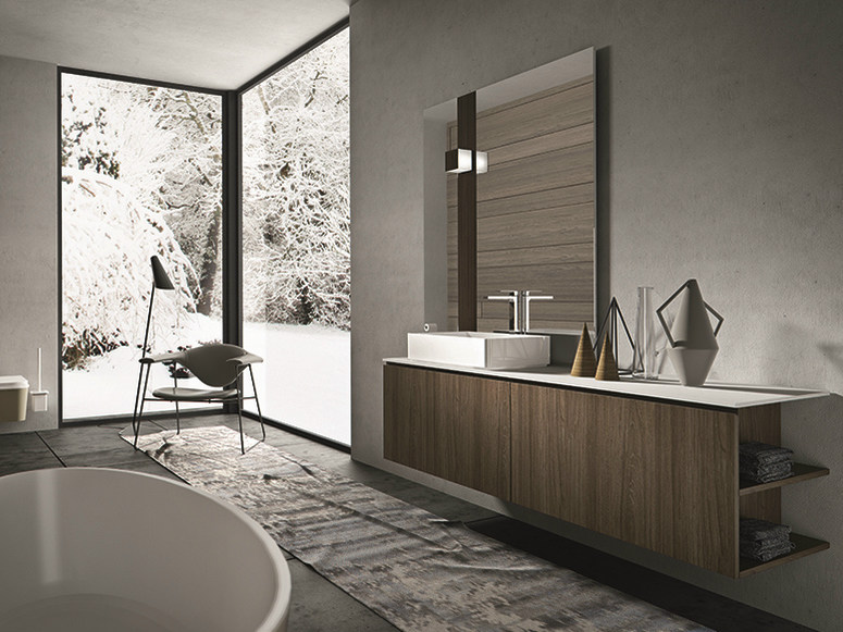 Wall-mounted walnut vanity unit with doors GIUNONE 351 - Edoné by Agorà Group