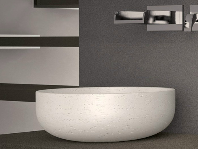 Countertop round single washbasin RAPOLANO 35 by Glass Design