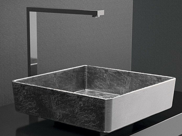 Countertop square washbasin FOUR LUX by Glass Design