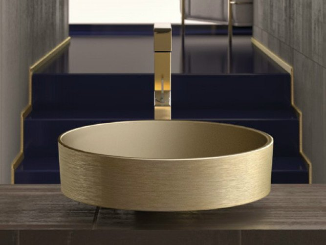 Countertop round washbasin RHO METAL by Glass Design