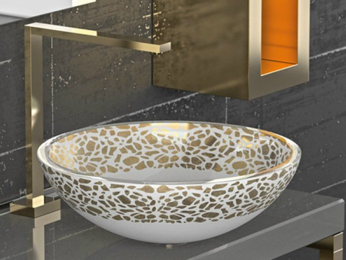 Countertop single glass washbasin FLARE Ø 34 by Glass Design