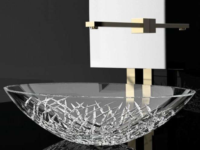 Countertop oval crystal washbasin ICE OVAL - Glass Design