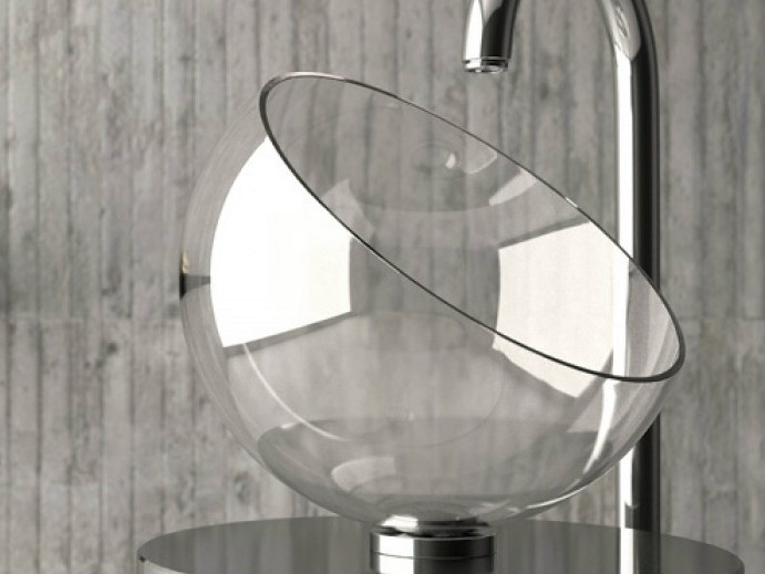 Countertop single crystal washbasin MOON by Glass Design