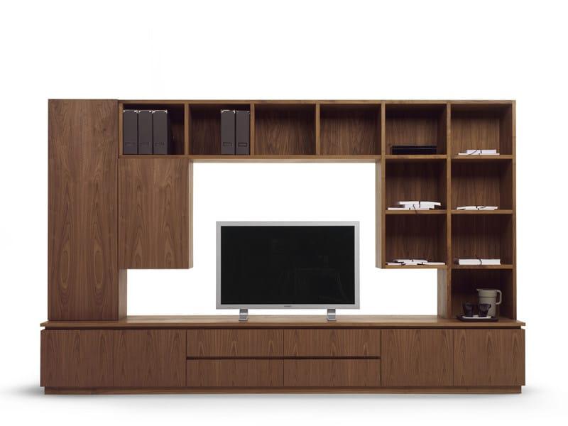 ensemble mural composable en bois avec support tv raffaello wall unit by riva 1920 design. Black Bedroom Furniture Sets. Home Design Ideas