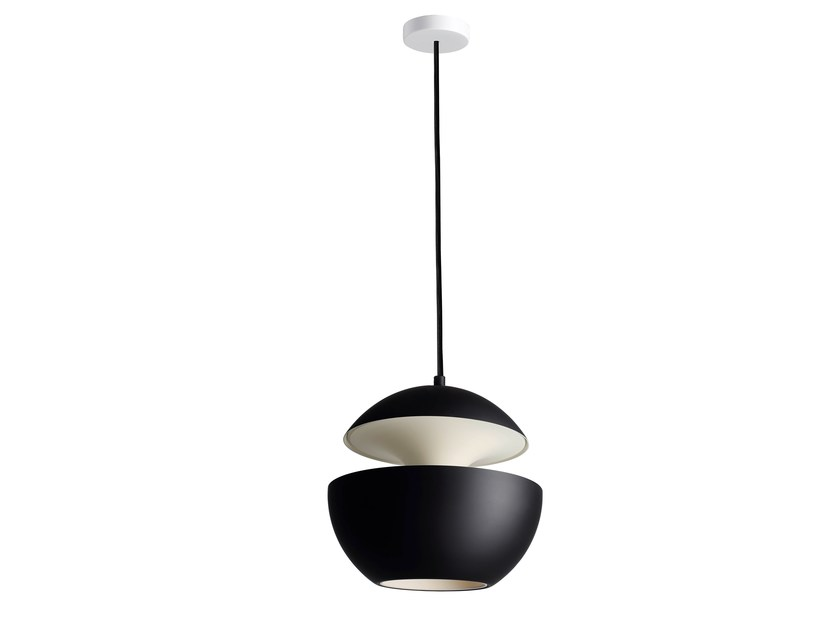 HCS BL–WH Ø250 Black satin aluminium/White ceiling cup/Inside white