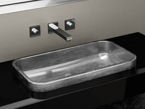Inset rectangular washbasin JIMMY FL - Glass Design
