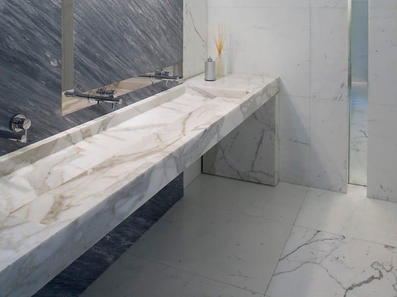 Rectangular marble washbasin with integrated countertop ORIZZONTE - FRANCHI UMBERTO MARMI