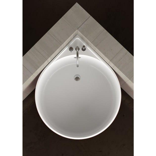 Vasca da bagno angolare rotonda MINI WHITE - Glass Design