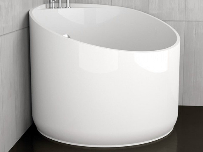 Corner round bathtub MINI WHITE - Glass Design