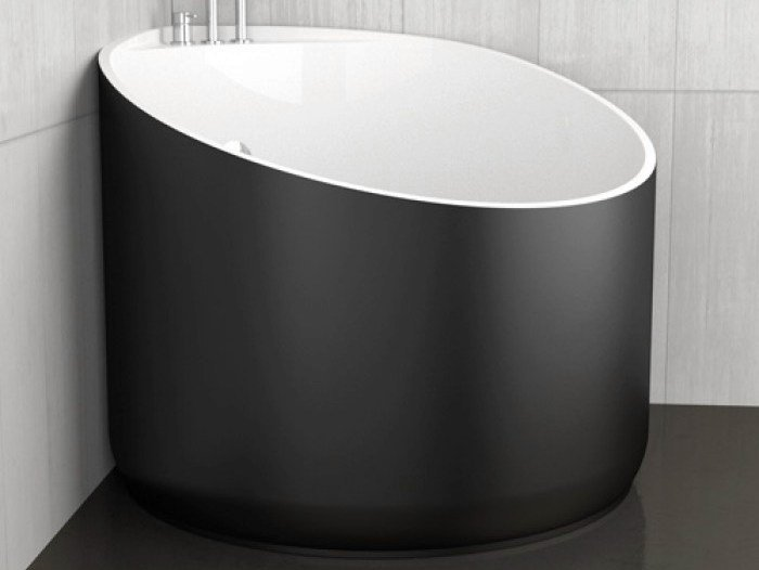 Vasca da bagno angolare rotonda mini black glass design - Vasche da bagno mini ...