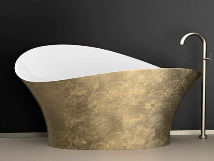 Freestanding gold leaf bathtub FLOWER STYLE GOLD - Glass Design