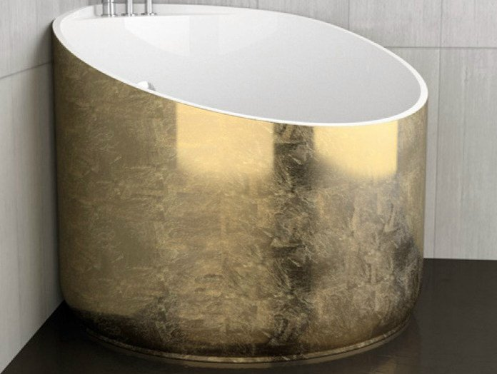 Corner gold leaf bathtub MINI GOLD by Glass Design