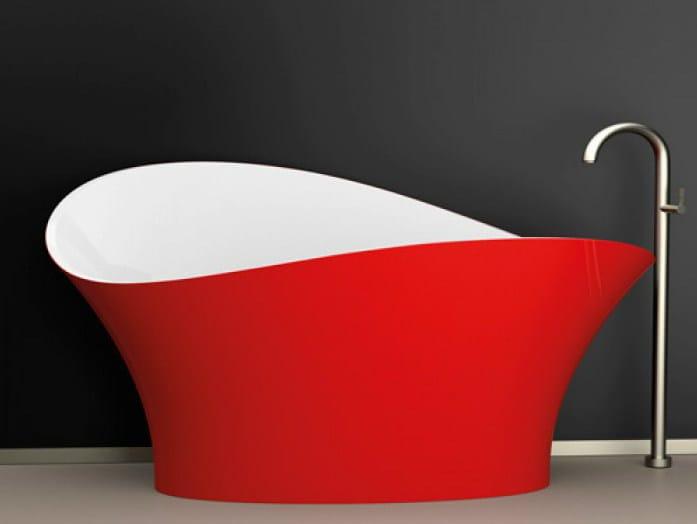 Freestanding bathtub FLOWER STYLE RED FERRARI - Glass Design