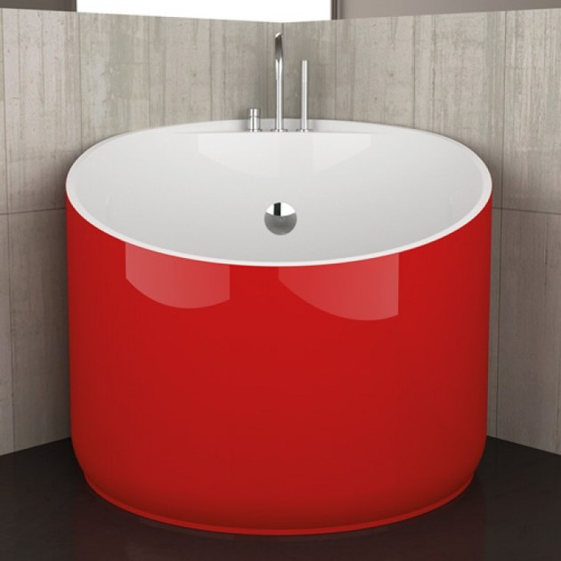 Vasca da bagno angolare rotonda mini red ferrari glass design - Vasche da bagno glass ...