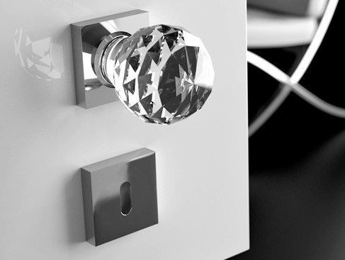 Crystal door knob with polished finishing GEO Ø 50 TRANSPARENT - Glass Design