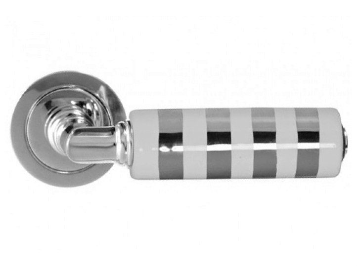 Ceramic door handle with polished finishing KIKKA LUX WHITE/PLATINUM - Glass Design