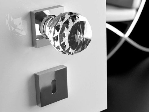 Crystal door knob with polished finishing GEO Ø 60 TRASPARENTE - Glass Design