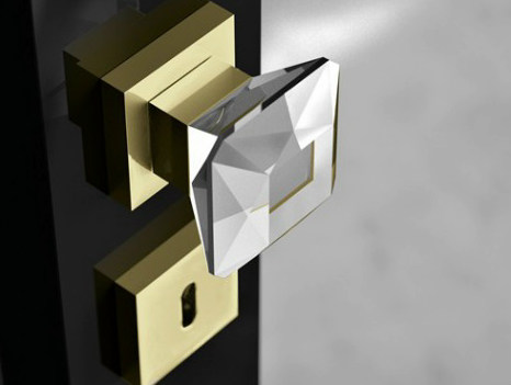 Crystal door knob with brushed finishing DIAMOND Q Trasparente by Glass Design