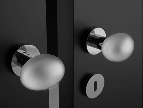 Crystal door knob with brushed finishing OVO LISCIO SATINATO - Glass Design