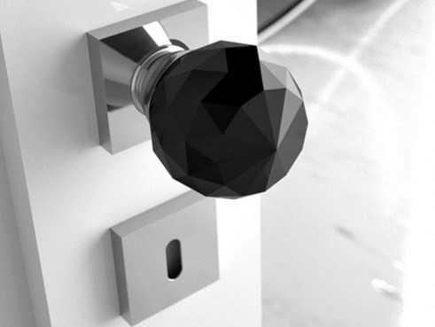 Crystal door knob with polished finishing GEO Ø 50 BLACK - Glass Design