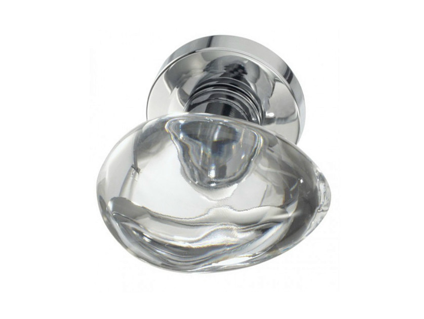 Crystal door knob with polished finishing OVO LISCIO TRANSPARENT - Glass Design