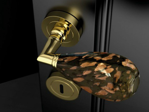 Murano glass door handle with polished finishing GOCCIA BLACK/ AVENTURINE - Glass Design