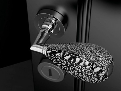 Murano glass door handle with polished finishing GOCCIA BLACK/SILVER LEAF - Glass Design