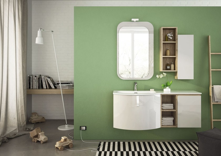 Sectional single wall-mounted vanity unit FREEDOM 03 - LEGNOBAGNO